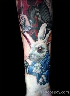 Alice Rabbit Tattoo On Lower Arm Bunny Tattoos, Rabbit Tattoos, Alice And Wonderland Tattoos, Alice In Wonderland, Great Tattoos, New Tattoos, Tatoos, Awesome Tattoos, White Rabbit Tattoo