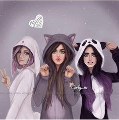 best friends images Girly_m Best Friend Drawings, Tumblr Drawings, Girly Drawings, Drawing Of Best Friends, Three Best Friends, Best Friends Forever, Dream Friends, Friends Girls, Sarra Art