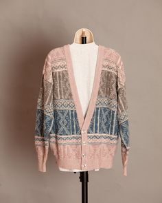 Awesome 80's Cardigan - SATURDAYS - L on Etsy, men's fashion vintage sweater