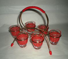 Vintage Shot Glasses with Rack  Red by MyHeirloomCharms on Etsy