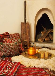 Moroccan Decor is very popular right now. This picture by Free People is something that we are very inspired by! This would be a great way to style our handmade berber pillows found here: http://www.casablancamarket.com/search?q=berber+pillow