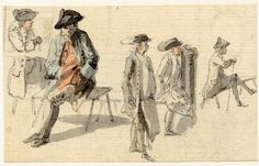 Men sitting on benches in a public place, one of the figure sketches made in Edinburgh and the neighbourhood after the rebellion of 1745 Pen and grey ink and grey wash, with watercolour