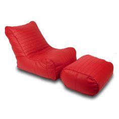 Fiorenzé sofa + Ottoman Hellfire Red - Fauteuil et repose pieds en cuir
