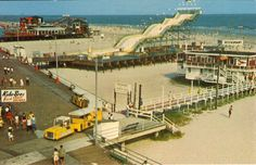Check this history photo of the piers long ago. The water slide was taking down in Look at the old Kohler Bros sign at the bottom left hand side. Wildwood Boardwalk, Wildwood Beach, North Wildwood, Wildwood Crest, Beach Boardwalk, Morey's Piers, Clean Beach, Seaside Towns, Atlantic City