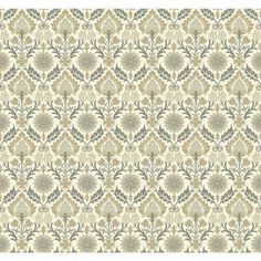 """York Wallcoverings Waverly Small Prints Santa Maria 27' x 27"""" Botanical Wallpaper Color: Cream, Gray, Taupe, Brown and Beige"""