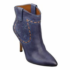 """Western inspired pointy toe bootie with star and lacing detail.  Dual pull tabs.  Stacked 4"""" heel.  Leather upper.  This style is available exclusively @ Nine West Stores & ninewest.com."""