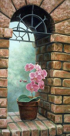 Delicate Orchids by Lucie Bilodeau ~ brick archway - Paulette White - - Delicate Orchids by Lucie Bilodeau ~ brick archway - Paulette White Art Et Nature, Foto Poster, Ouvrages D'art, Art Et Illustration, Art Drawings Sketches, Painting Inspiration, Amazing Art, Orchids, Watercolor Paintings