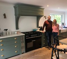 Happy clients with their Neptune by Richard F Mackay Suffolk kitchen in Cactus Green Neptune Home, Neptune Kitchen, Pantry Ideas, Kitchen Ideas, Kitchen Decor, Cambridge House, Bungalow Exterior, Furniture Sets, Paint Colors