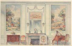 Chambre a coucher, inspirée d'une gravure de Gravelot.... :: Interieurs de style--XVIIe & XVIIIe siecles--di...