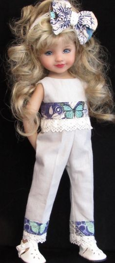 "Sweater,jumpsuit,hat,bracelet&shoes set made for effner little darling 13"" dolls"