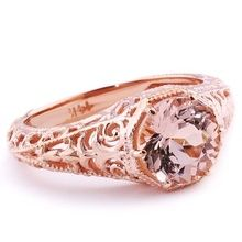 Peach Pink Morganite Vintage Solitaire Engagement Ring