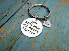 Make My Heart Flutter, Husband, Boyfriend Gift, Keychain Gift, Handstamped Men's Gift, Custom Keychain, Anniversary Gift, Newlywed by HandmadeLoveStories on Etsy