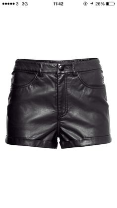 Women's Fashion High Waist Faux Leather PU Hot Shorts With Pockets Mini Shorts, H&m Shorts, Shorts With Pockets, Short Shorts, Leather Look Shorts, Leather Pants, Black High Waisted Shorts, Black Shorts, Short Cuir