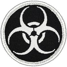 "Glowing Biohazard Warning Patrol Patch - 2"" Round Patchtown http://www.amazon.com/dp/B00TNPBN8G/ref=cm_sw_r_pi_dp_BMAwxb1ARTEJJ"
