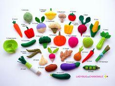 Feutre de légumes aimants - prix de le 1 article - faites votre propre set - oignon, Paprika, ail, piment, tomate, haricots, carotte, navet, chou-fleur, radis