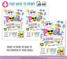 Emoji Pool Party Invitation Pool party birthday invitation Girl Emoji Pool Party party invitation Cool by the Pool Summer Swim Party Emoji Invitations, Pool Party Birthday Invitations, 6th Birthday Parties, Birthday Celebration, Emoji Coloring Pages, Girl Emoji, Tent Cards, Hang Tags, Party Printables