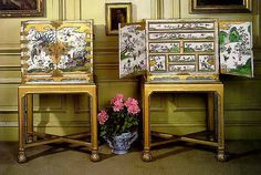 Attributed to Gerard Dagly of Berlin, c. 1690; the stands attributed to James Moore c. 1720  The cabinets japanned white with polychrome and gilt decoration; the stands gilt wood