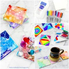 Easy Tile Art for Kids That Everyone Will Enjoy, Sharpie Art is the coolest, perfect art for kids, Fun Art process, Painted Coasters make a great gift, #kidsart #kidscrafts #giftidea