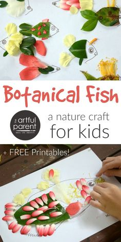 Nature Crafts Try this unique fish craft by adding nature finds (especially flower petals and leaves) to these free fish printables. An easy & fun nature craft for kids! Fish Crafts Kids, Preschool Christmas Crafts, Holiday Crafts, Easy Art Projects, Projects For Kids, Diy For Kids, Adult Crafts, Easy Crafts, Arts And Crafts
