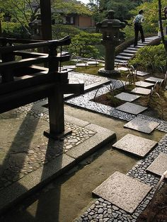 Exterior pathways at the Katsura Imperial Villa, Kyoto, Japan.