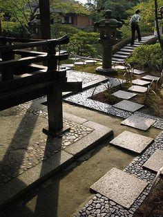 Exterior pathways at the Katsura Imperial Villa, Kyoto, Japan.