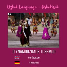 "Uzbek ""to dance""; Usbekisch ""tanzen"" More information on instagram or on my blog www.sariq-qiz.com #uzbek #usbekisch #uzbeklanguage #usbekischesprache #languages #learnuzbek #lerneusbekisch Blog, Movies, Movie Posters, Instagram, Art, Dance, Art Background, Films, Film Poster"