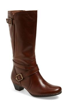Free shipping and returns on Cobb Hill 'Ashlyn' Tall Boot (Women) at Nordstrom.com. Dual buckle straps lend a tailored look to an essential low-heeledboot craftedin burnished leather with stretch panels to ensure a custom fit.