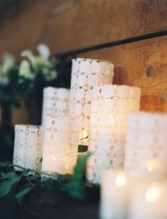 Wrap boring glass candle holders in pretty lace