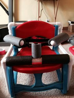 PVC pipe frame for toddler chair - this could be adapted to any chair for bigger kids & teens, too!