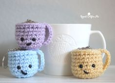 Crochet Coffee Mug Keychains - Repeat Crafter Me #repeatcrafterme #crochet #crochetkeychains #crochetcoffeecups