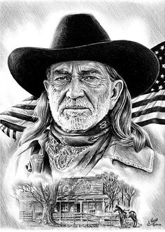 Willie Nelson Print by Andrew Read Celebrity Caricatures, Celebrity Drawings, Celebrity Portraits, Art Sketches, Art Drawings, Horse Drawings, Drawing Art, Westerns, Cowboy Pictures