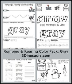 Free Romping & Roaring Color Pack Gray - 8 pages of printables to work on…