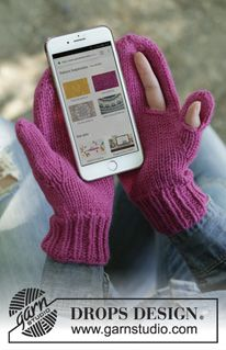 Keep in touch / DROPS - free knitting patterns by DROPS design - Keep in Touch / DROPS – Knitted mittens in DROPS Nepal. Mittens for mobile phones with openings for the thumb and forefinger. Crochet Mittens Free Pattern, Crochet Gloves, Knit Mittens, Knitting Patterns Free, Free Knitting, Knitted Hats, Crochet Patterns, Knit Crochet, Drops Design