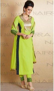 Pakistani Style Parrot Green Color Georgette Narrow Pants Dresses | FH461071948