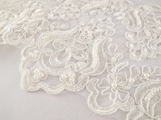1 Yard Elegant Luxury White Wedding Lace Beaded Lace Bridal Bride's Dress Veil Lace Lace Trim 7 inches