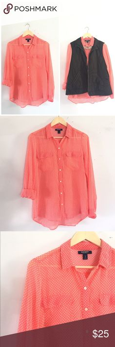 🆕 Listing! Stunning Old Navy button up The perfect button up for fall! Lightweight and very sheer, great for layering! Vibrant pink & white accent pattern. No material tag, but feels soft. Length is 24 3/4in. and bust is 18 3/4in. Sleeve length is 23.5in. High low hem. More pink in real life than pictured. Old Navy Tops Button Down Shirts