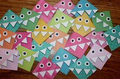 A bunch of monster corner bookmarks. Neat, easy, fun idea that I want to use for our own bookmarks.