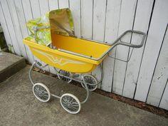 yellow doll stroller