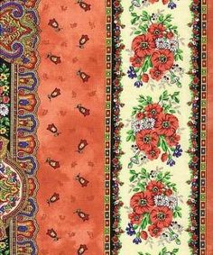 "Beautiful border print has different borders across its 62"" width"