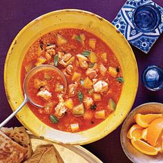 Moroccan Chicken and Butternut Squash Soup | CookingLight.com #myplate #protein #vegetables