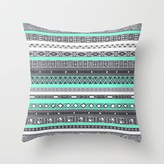 Tiffany Turquoise Aztec Print Throw Pillow by RexLambo - $20.00