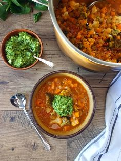Chunky Vegetable Soup with Spinach-Cashew Pesto by Elizabeth's Kitchen Diary