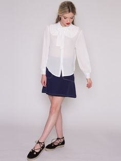 Dahlia Virginia White Crepe Blouse with Pleated Full Collar and Neck Tie
