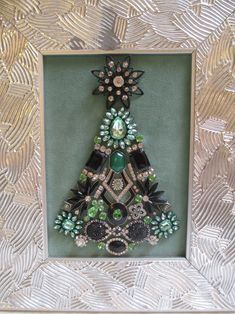 Jeweled Framed Jewelry Christmas Tree Silver Green Black Art Deco by audreymivey on Etsy Jewelry Christmas Tree, Silver Christmas Tree, Christmas Art, Vintage Christmas, Christmas Decorations, Black Christmas, Rustic Christmas, Christmas Ornament, Costume Jewelry Crafts