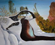 Oil on Canvas: Carrbridge, Pack Horse Bridge