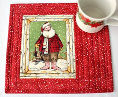 Christmas Mug Rug, Santa Mug Rug, Quilted Snack Mat, Mug Mat, Red Mug Rug, Quiltsy Handmade by RedNeedleQuilts on Etsy
