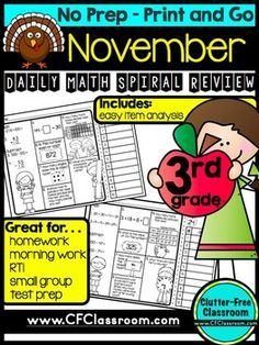 3RD GRADE Homework Morning Work for MATH - NOVEMBER NO PREP - 53 pages - $ - Check out this awesome spiral review math product for 3rd grade! this is perfect for homework, morning work, or math centers! Use these printable pages for assessment, RTI, data tracking, small group lessons, and more! Click through to see all the details, OR buy the bundle to save some money!