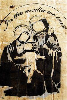 """In the Media We Trust"", Holy Trinity of Street Art, Graffiti, Pop Art, possibly by BANKSY."