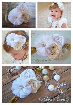 White and Ivory Chiffon and Satin Flower by ribboncandyhairbows, $12.00