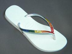 Rainbow Flip Flops with Crystals